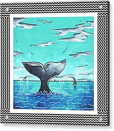 Coastal Nautical Decorative Art Original Painting Whale Tail Chevron Pattern Sea Farer By Madart Acrylic Print by Megan Duncanson