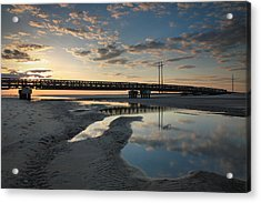 Coastal Ponds And Bridge I Acrylic Print by Steven Ainsworth