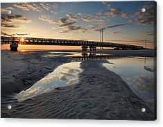 Coastal Ponds And Bridge II Acrylic Print by Steven Ainsworth