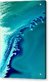 Coastal Surf Blue Abstract Waves By Kredart Acrylic Print by Serg Wiaderny