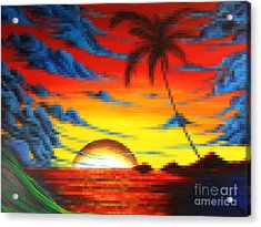 Coastal Tropical Abstract Colorful Pixel Art Digital Painting Compilation Tropical Bliss By Madart Acrylic Print by Megan Duncanson
