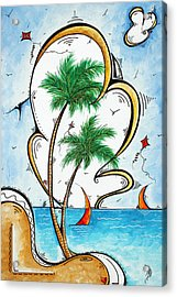Coastal Tropical Art Contemporary Sailboat Kite Painting Whimsical Design Summer Daze By Madart Acrylic Print by Megan Duncanson