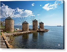 Coastal Windmills Acrylic Print by Bob Gibbons
