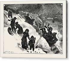 Coasting Or Tobogganing At Omaha Acrylic Print by English School