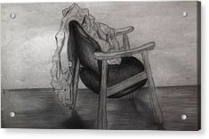 Coat In The Empty Chair Acrylic Print by Marjudy Royo