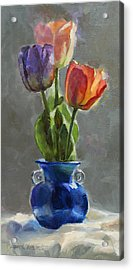Cobalt And Tulips Still Life Painting Acrylic Print