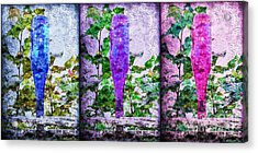 Cobalt Blue Purple And Magenta Bottles Collage Acrylic Print by Andee Design