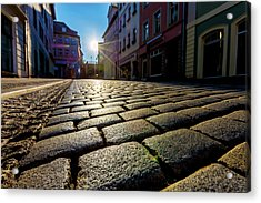 Cobbled Street And Sunlight Acrylic Print by Wladimir Bulgar