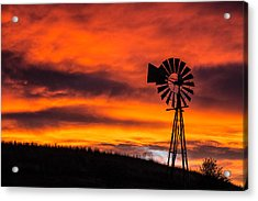 Cobblestone Windmill At Sunset Acrylic Print
