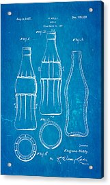 Coca Cola Bottle Patent Art 1937 Blueprint Acrylic Print by Ian Monk