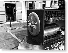 Coca Cola On Bourbon Street Mono Acrylic Print by John Rizzuto