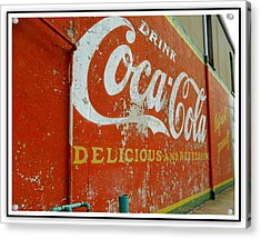 Coca-cola On The Army Store Wall Acrylic Print by Kathy Barney