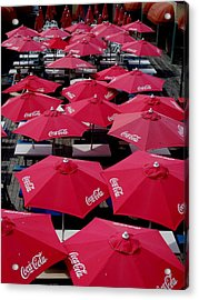 Coca Cola Red Umbrella's Acrylic Print by Rick Todaro