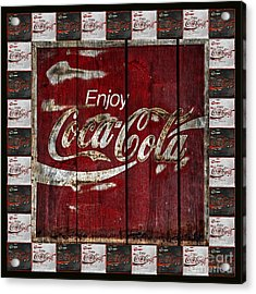 Coca Cola Sign With Little Cokes Border Acrylic Print by John Stephens