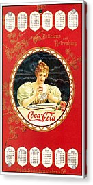 Coca - Cola Vintage Poster Calendar Acrylic Print by Gianfranco Weiss