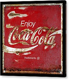 Coca Cola Vintage Rusty Sign Acrylic Print by John Stephens