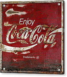 Coca Cola Wood Grunge Sign Acrylic Print by John Stephens