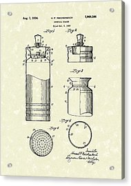 Cocktail Shaker 1934 Patent Art Acrylic Print by Prior Art Design
