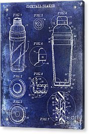 Cocktail Shaker Patent Drawing Blue Acrylic Print