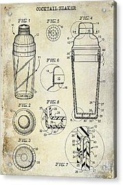 Cocktail Shaker Patent Drawing Acrylic Print