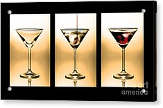 Cocktail Triptych In Gold Acrylic Print