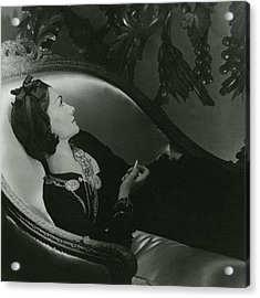 Coco Chanel On A Chaise Longue Acrylic Print by Horst P. Horst