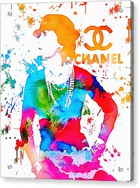 Coco Chanel Paint Splatter Acrylic Print by Dan Sproul