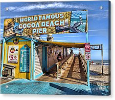 Cocoa Beach Pier In Florida Acrylic Print by David Smith