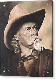 Acrylic Print featuring the painting Cody - Western Gentleman by Mary Ellen Anderson