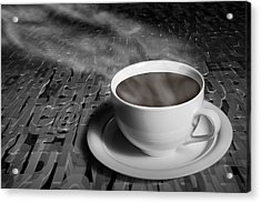 Coffe Cup And Saucer With Alphabet Lettering Acrylic Print by Randall Nyhof