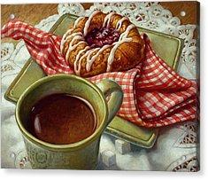 Acrylic Print featuring the painting Coffee And Danish by Mia Tavonatti
