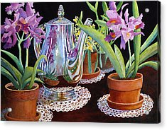 Acrylic Print featuring the painting Coffee And Flowers by Roger Rockefeller