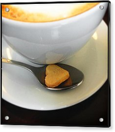 Coffee And Heart Shaped Cookie Acrylic Print
