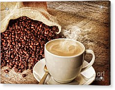 Coffee And Sack Of Coffee Beans Acrylic Print by Colin and Linda McKie