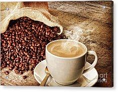 Coffee And Sack Of Coffee Beans Acrylic Print