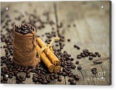 Coffee Beans And Cinnamon Stick Acrylic Print