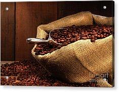 Coffee Beans In Burlap Sack Acrylic Print by Sandra Cunningham