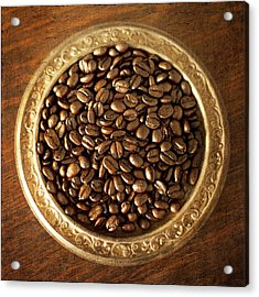 Coffee Beans On Antique Silver Platter Acrylic Print