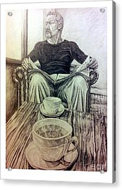 Acrylic Print featuring the drawing Coffee Break by R Muirhead Art