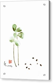 Coffee Cafe Plant And Beans Brown Green Watercolor Painting Kitchen Art Acrylic Print