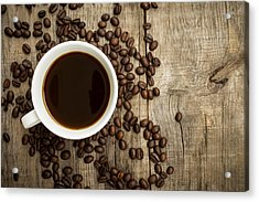 Coffee Cup With Beans Acrylic Print