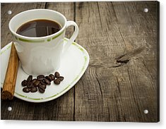 Coffee Cup With Beans And Cinnamon Stick Acrylic Print