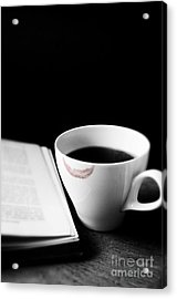 Coffee Cup With Lipstick Mark And Book Acrylic Print by Birgit Tyrrell