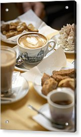 Coffee Drinks And Biscotti On Table In Cafe (focus On Cappuccino) Acrylic Print by Bob Handelman