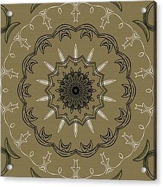 Coffee Flowers 3 Olive Ornate Medallion Acrylic Print by Angelina Vick