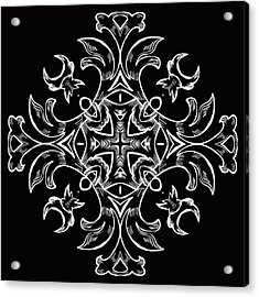 Coffee Flowers 7 Bw Ornate Medallion Acrylic Print by Angelina Vick
