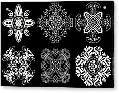 Coffee Flowers Ornate Medallions Bw 6 Peice Collage Acrylic Print by Angelina Vick