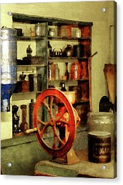 Acrylic Print featuring the photograph Coffee Grinder And Canister Of Sugar by Susan Savad