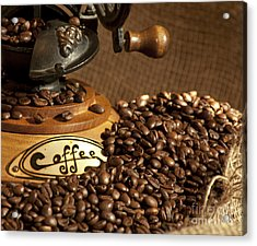 Coffee Grinder With Beans Acrylic Print by Gunter Nezhoda