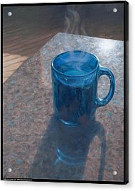 Coffee In A Cobalt Cup Acrylic Print